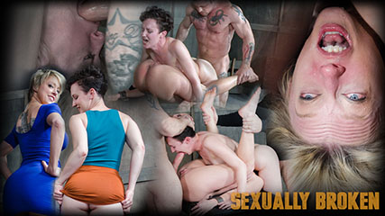 Bonnie Day & Dee Williams, bound in a Sexually Broken Sixty Nine. Brutal face and pussy fucking!
